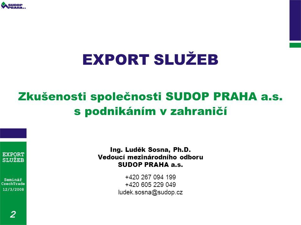 Zkušenosti společnosti SUDOP PRAHA a.s. s podnikáním v zahraničí Ing.