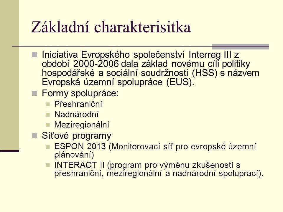 Základní charakterisitka Iniciativa Evropského společenství Interreg III z období 2000-2006 dala základ novému cíli politiky hospodářské a sociální soudržnosti (HSS) s názvem Evropská územní spolupráce (EUS).