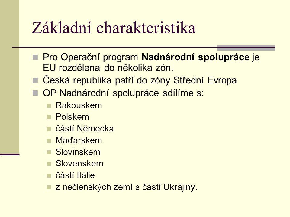 Základní charakteristika Pro Operační program Nadnárodní spolupráce je EU rozdělena do několika zón.