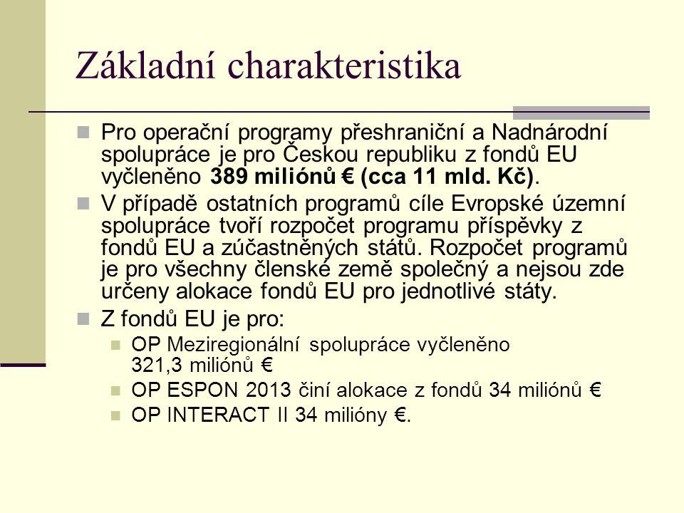 Základní charakteristika Pro operační programy přeshraniční a Nadnárodní spolupráce je pro Českou republiku z fondů EU vyčleněno 389 miliónů € (cca 11 mld.