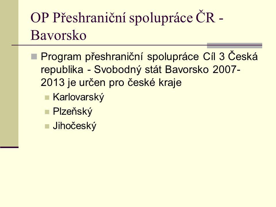 OP Přeshraniční spolupráce ČR - Bavorsko Program přeshraniční spolupráce Cíl 3 Česká republika - Svobodný stát Bavorsko 2007- 2013 je určen pro české kraje Karlovarský Plzeňský Jihočeský