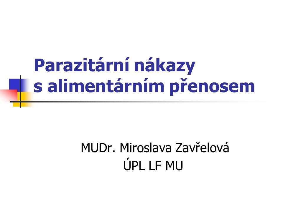 Parazitární nákazy s alimentárním přenosem MUDr. Miroslava Zavřelová ÚPL LF MU