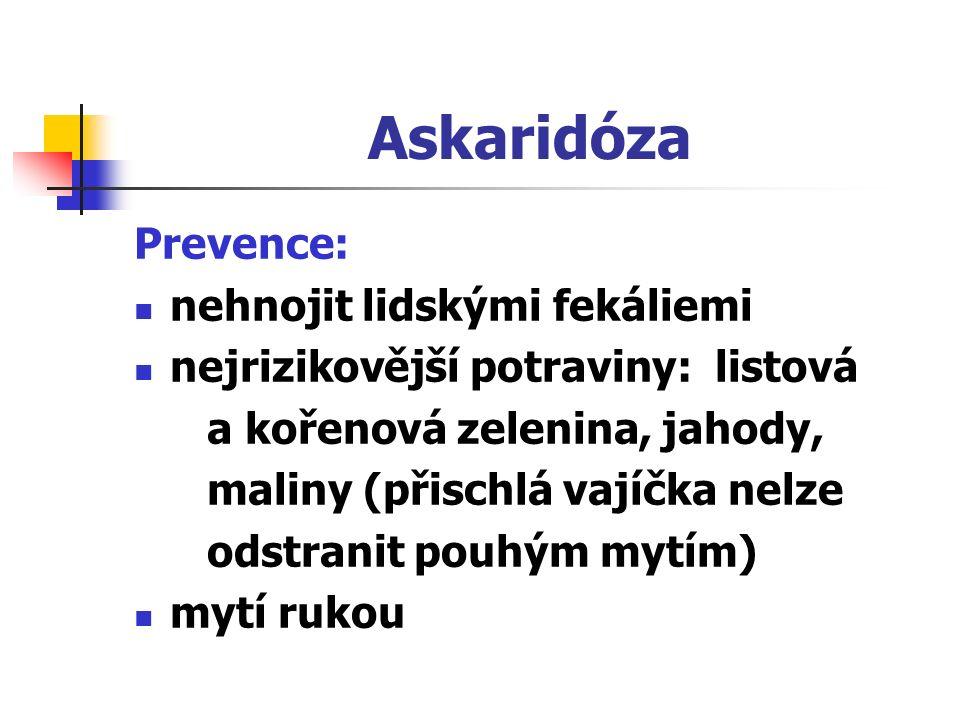 Askaridóza Prevence: nehnojit lidskými fekáliemi nejrizikovější potraviny: listová a kořenová zelenina, jahody, maliny (přischlá vajíčka nelze odstran