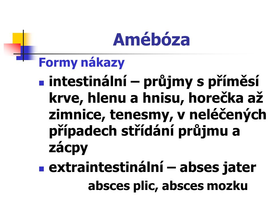 Amébóza Formy nákazy intestinální – průjmy s příměsí krve, hlenu a hnisu, horečka až zimnice, tenesmy, v neléčených případech střídání průjmu a zácpy
