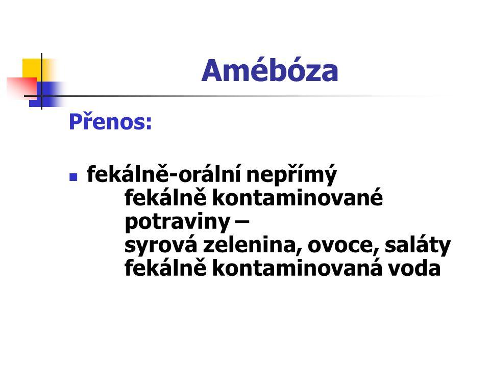 Amébóza Přenos: fekálně-orální nepřímý fekálně kontaminované potraviny – syrová zelenina, ovoce, saláty fekálně kontaminovaná voda