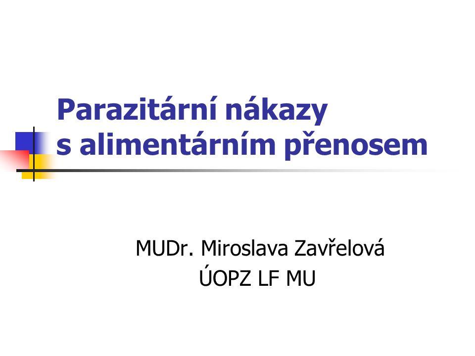 Parazitární nákazy s alimentárním přenosem MUDr. Miroslava Zavřelová ÚOPZ LF MU