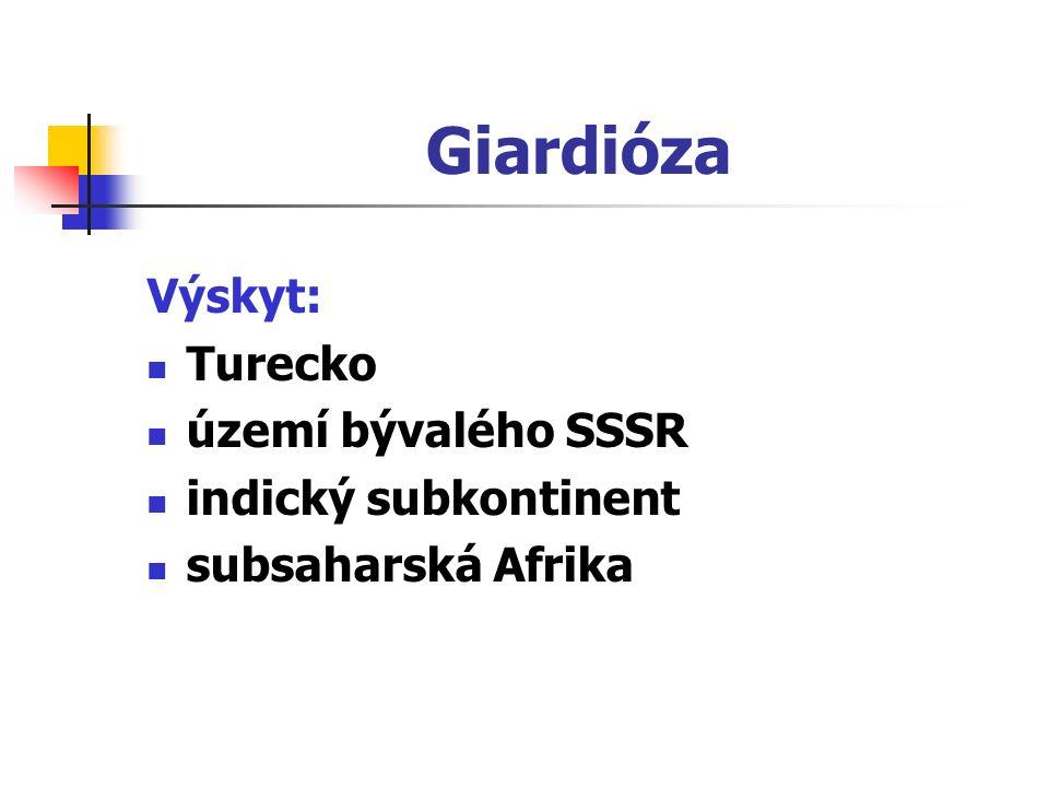 Giardióza Výskyt: Turecko území bývalého SSSR indický subkontinent subsaharská Afrika