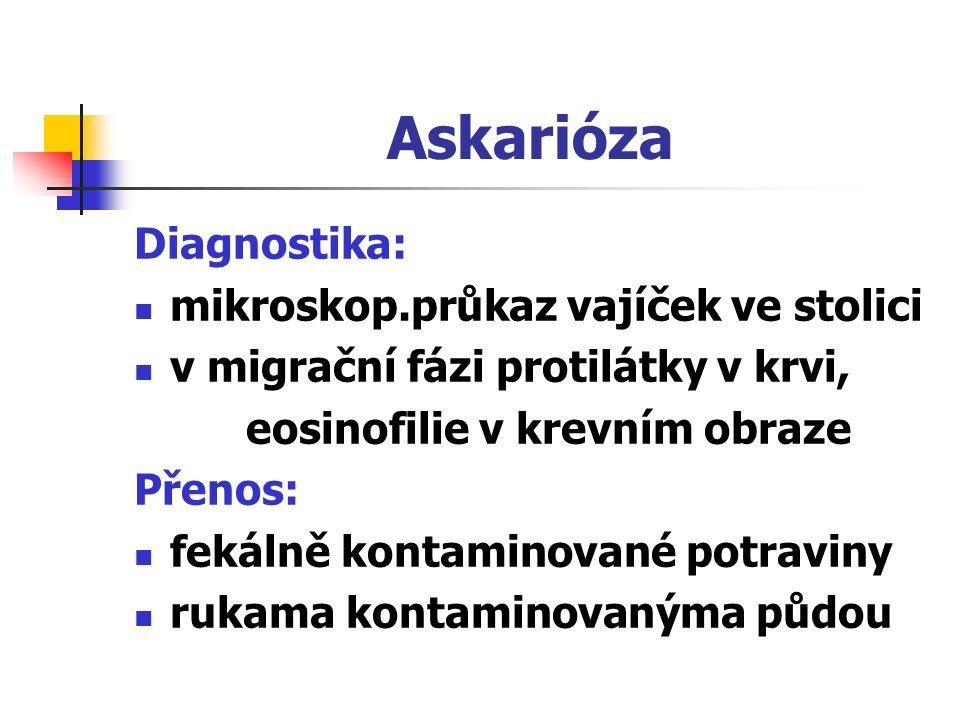 Askarióza Diagnostika: mikroskop.průkaz vajíček ve stolici v migrační fázi protilátky v krvi, eosinofilie v krevním obraze Přenos: fekálně kontaminova