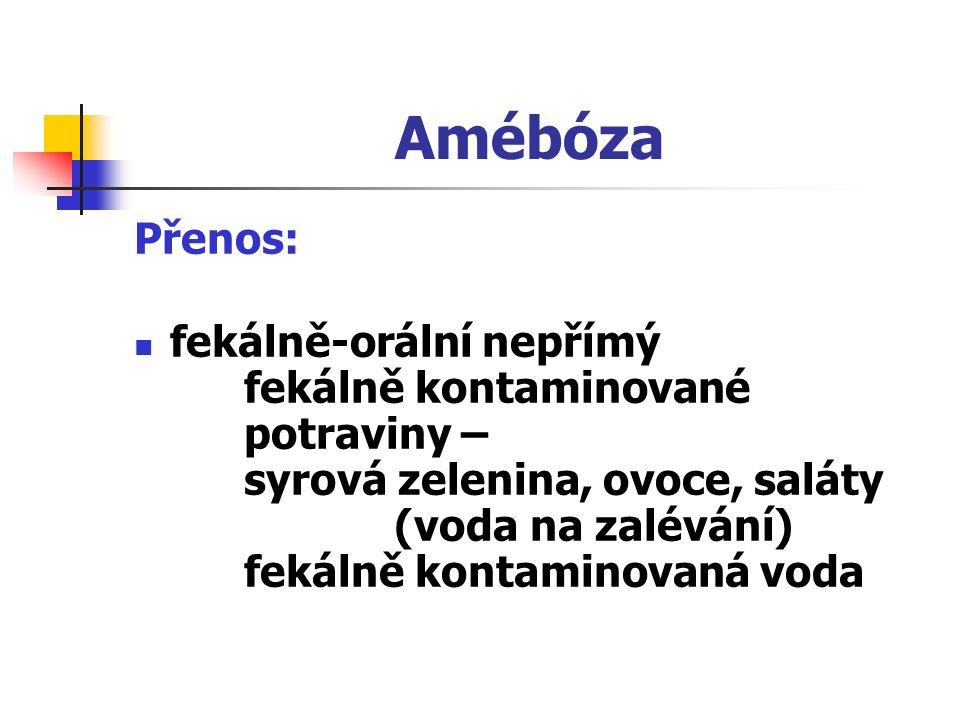 Amébóza Přenos: fekálně-orální nepřímý fekálně kontaminované potraviny – syrová zelenina, ovoce, saláty (voda na zalévání) fekálně kontaminovaná voda