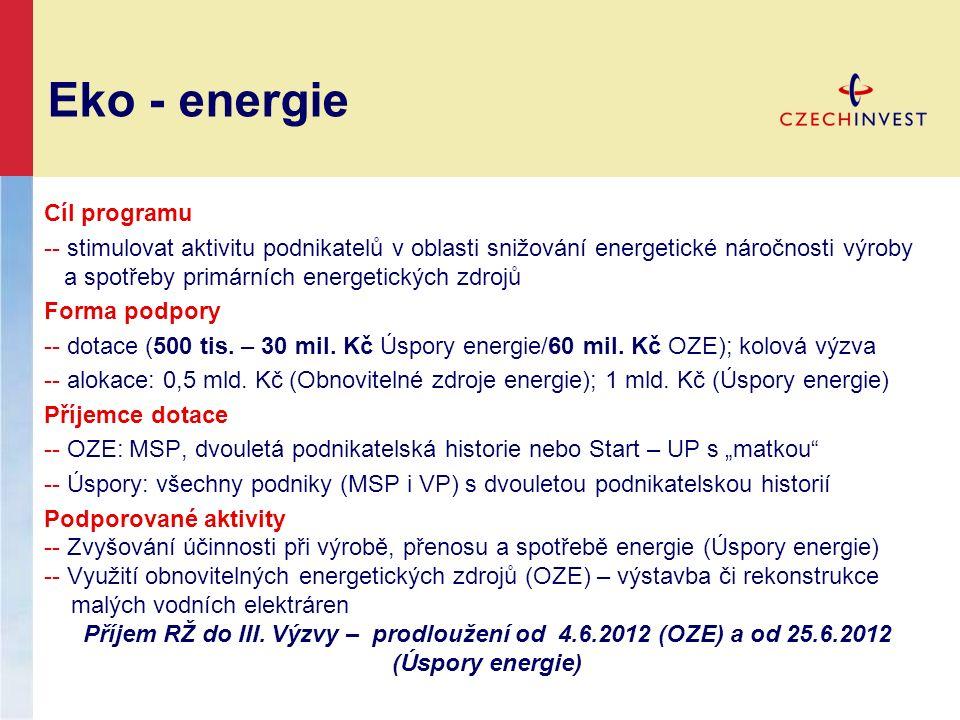 Eko - energie Cíl programu -- stimulovat aktivitu podnikatelů v oblasti snižování energetické náročnosti výroby a spotřeby primárních energetických zdrojů Forma podpory -- dotace (500 tis.
