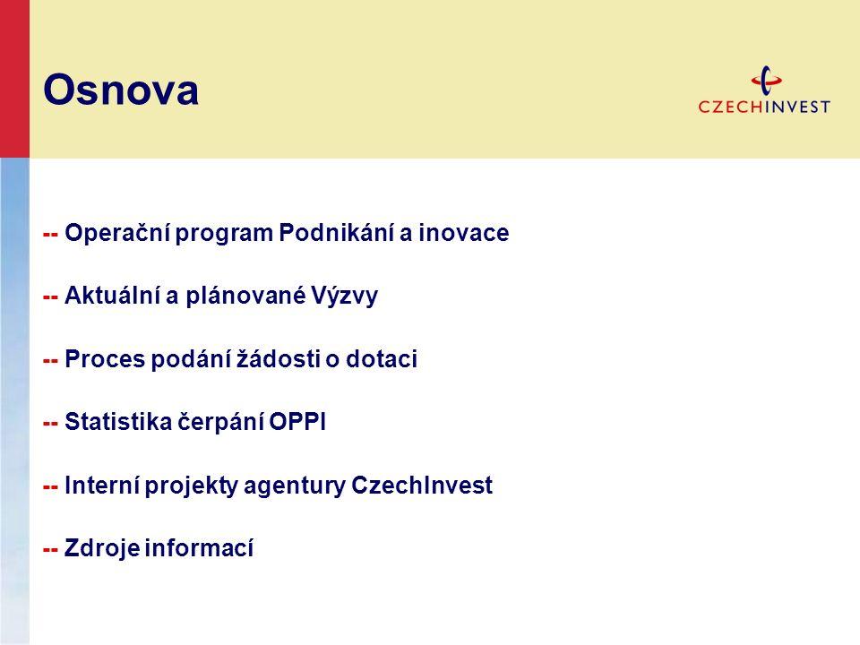 Osnova -- Operační program Podnikání a inovace -- Aktuální a plánované Výzvy -- Proces podání žádosti o dotaci -- Statistika čerpání OPPI -- Interní projekty agentury CzechInvest -- Zdroje informací