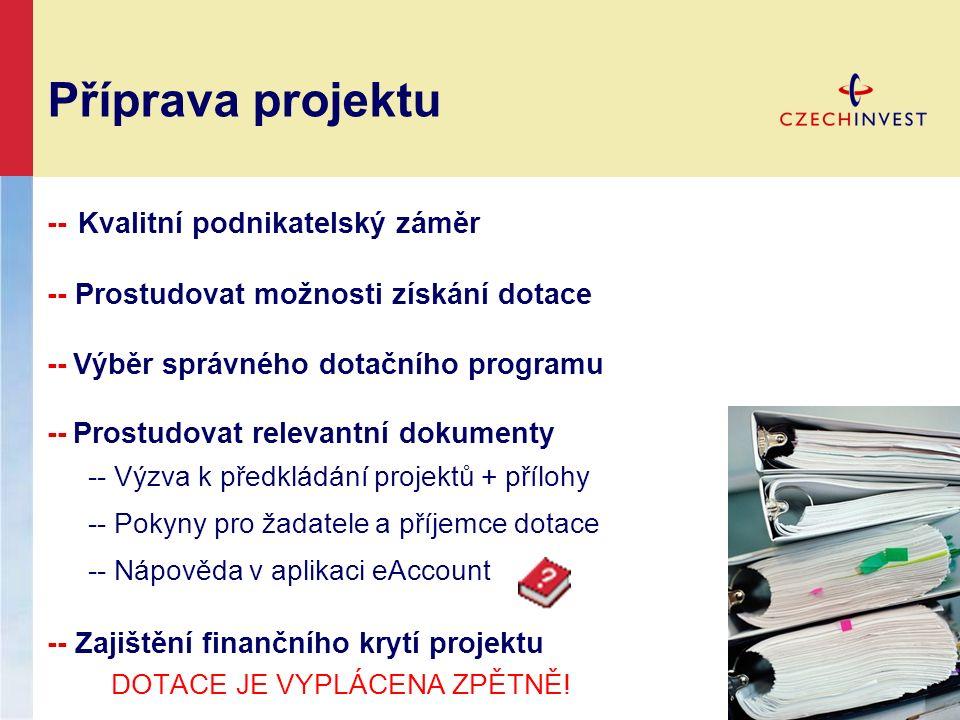 Příprava projektu -- Kvalitní podnikatelský záměr -- Prostudovat možnosti získání dotace -- Výběr správného dotačního programu -- Prostudovat relevantní dokumenty -- Výzva k předkládání projektů + přílohy -- Pokyny pro žadatele a příjemce dotace -- Nápověda v aplikaci eAccount -- Zajištění finančního krytí projektu DOTACE JE VYPLÁCENA ZPĚTNĚ!