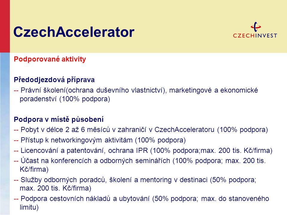 CzechAccelerator Podporované aktivity Předodjezdová příprava -- Právní školení(ochrana duševního vlastnictví), marketingové a ekonomické poradenství (100% podpora) Podpora v místě působení -- Pobyt v délce 2 až 6 měsíců v zahraničí v CzechAcceleratoru (100% podpora) -- Přístup k networkingovým aktivitám (100% podpora) -- Licencování a patentování, ochrana IPR (100% podpora;max.