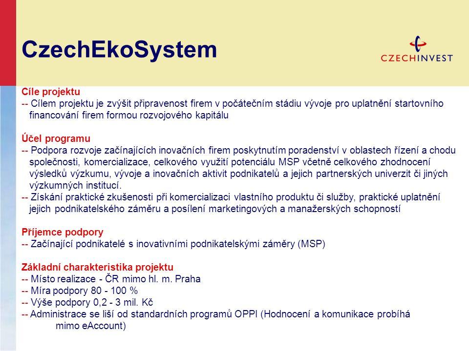 CzechEkoSystem Cíle projektu -- Cílem projektu je zvýšit připravenost firem v počátečním stádiu vývoje pro uplatnění startovního financování firem for