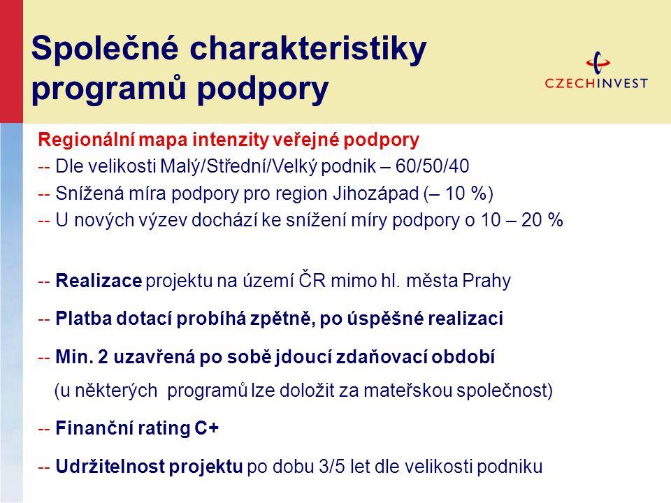 Společné charakteristiky programů podpory Regionální mapa intenzity veřejné podpory -- Dle velikosti Malý/Střední/Velký podnik – 60/50/40 -- Snížená míra podpory pro region Jihozápad (– 10 %) -- U nových výzev dochází ke snížení míry podpory o 10 – 20 % -- Realizace projektu na území ČR mimo hl.