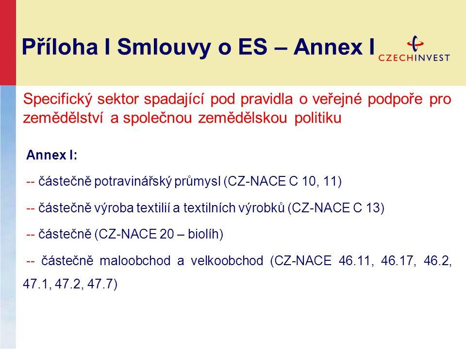 Příloha I Smlouvy o ES – Annex I Specifický sektor spadající pod pravidla o veřejné podpoře pro zemědělství a společnou zemědělskou politiku Annex I: -- částečně potravinářský průmysl (CZ-NACE C 10, 11) -- částečně výroba textilií a textilních výrobků (CZ-NACE C 13) -- částečně (CZ-NACE 20 – biolíh) -- částečně maloobchod a velkoobchod (CZ-NACE 46.11, 46.17, 46.2, 47.1, 47.2, 47.7)