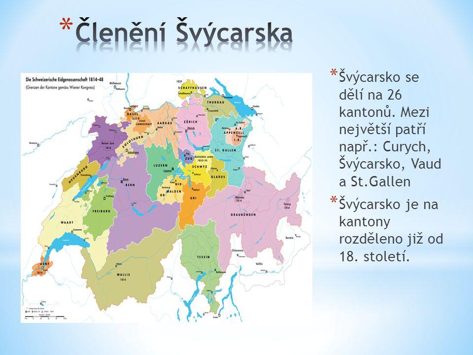 * Švýcarsko se dělí na 26 kantonů. Mezi největší patří např.: Curych, Švýcarsko, Vaud a St.Gallen * Švýcarsko je na kantony rozděleno již od 18. stole