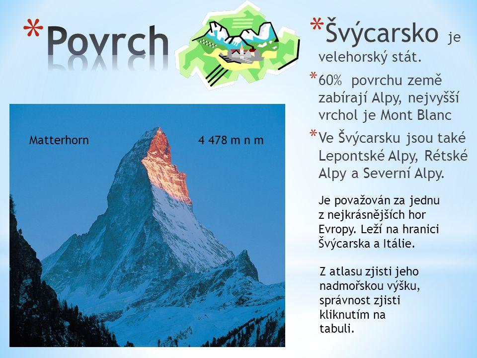 * Švýcarsko je velehorský stát. * 60% povrchu země zabírají Alpy, nejvyšší vrchol je Mont Blanc * Ve Švýcarsku jsou také Lepontské Alpy, Rétské Alpy a