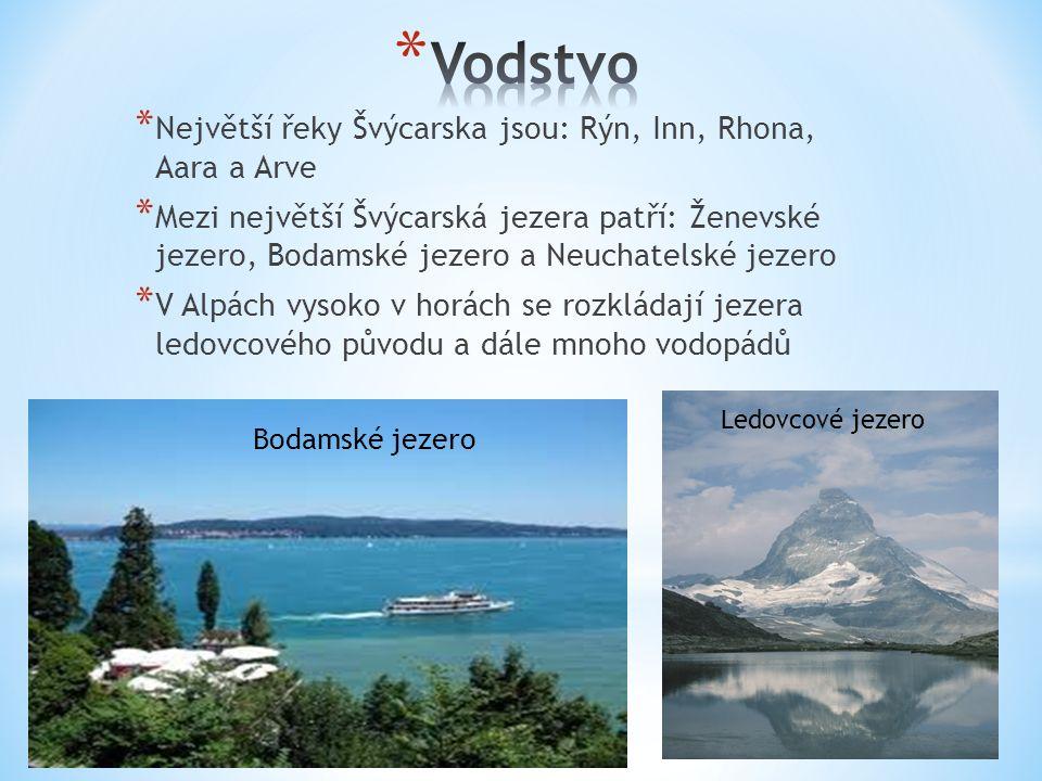 * Největší řeky Švýcarska jsou: Rýn, Inn, Rhona, Aara a Arve * Mezi největší Švýcarská jezera patří: Ženevské jezero, Bodamské jezero a Neuchatelské j