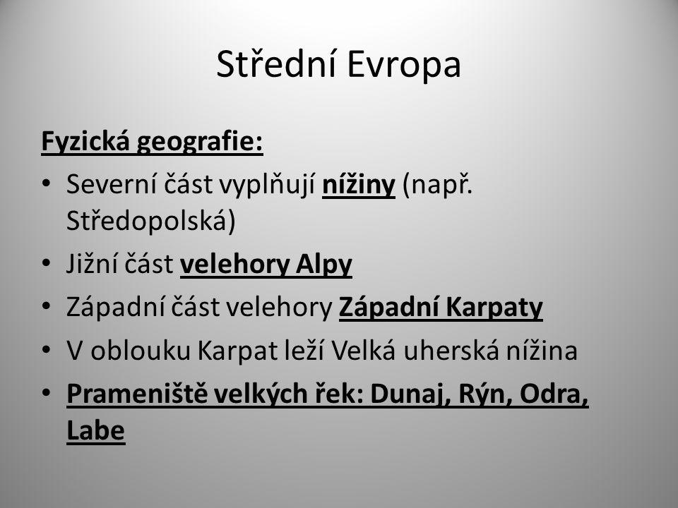 Střední Evropa Fyzická geografie: Severní část vyplňují nížiny (např.
