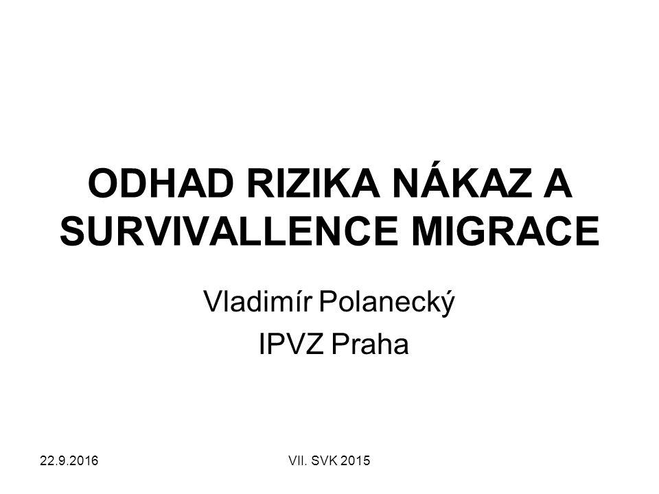 22.9.2016VII. SVK 2015 ODHAD RIZIKA NÁKAZ A SURVIVALLENCE MIGRACE Vladimír Polanecký IPVZ Praha