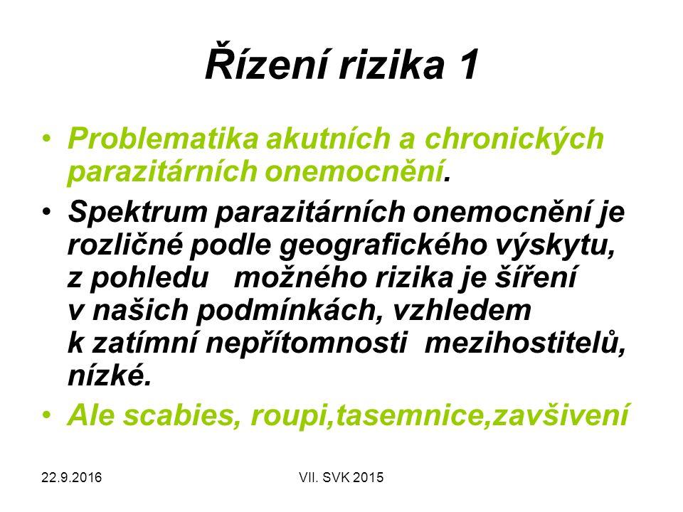 22.9.2016VII. SVK 2015 Řízení rizika 1 Problematika akutních a chronických parazitárních onemocnění. Spektrum parazitárních onemocnění je rozličné pod