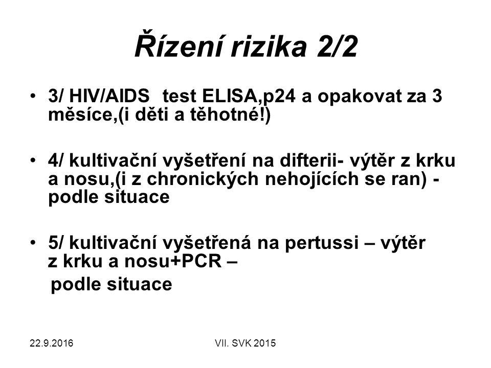 22.9.2016VII. SVK 2015 Řízení rizika 2/2 3/ HIV/AIDS test ELISA,p24 a opakovat za 3 měsíce,(i děti a těhotné!) 4/ kultivační vyšetření na difterii- vý
