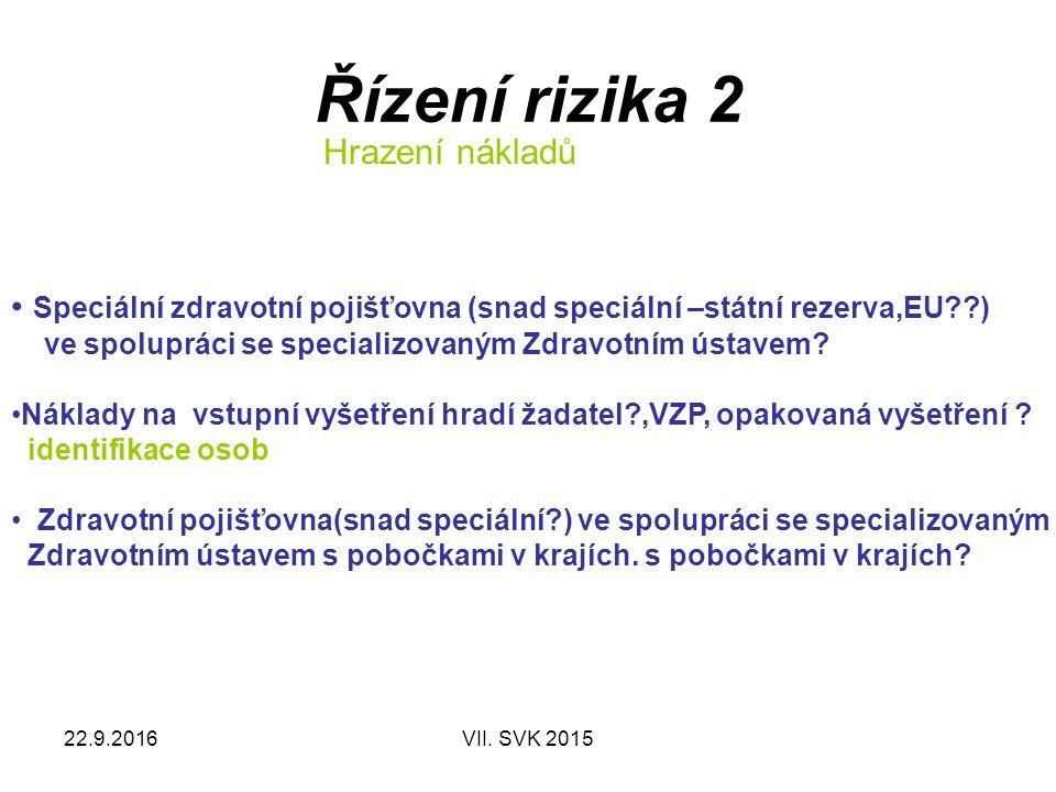 22.9.2016VII. SVK 2015 Řízení rizika 2 Hrazení nákladů Speciální zdravotní pojišťovna (snad speciální –státní rezerva,EU??) ve spolupráci se specializ