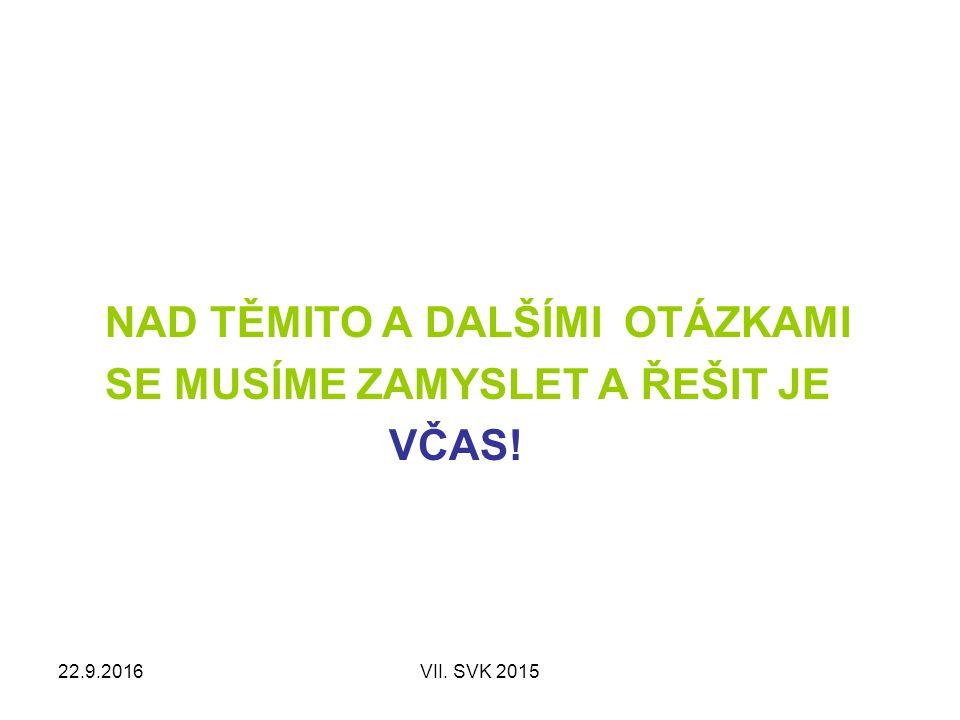 22.9.2016VII. SVK 2015 NAD TĚMITO A DALŠÍMI OTÁZKAMI SE MUSÍME ZAMYSLET A ŘEŠIT JE VČAS!