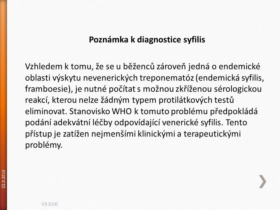 VII.SVK 22.9.2016 Poznámka k diagnostice syfilis Vzhledem k tomu, že se u běženců zároveň jedná o endemické oblasti výskytu nevenerických treponematóz