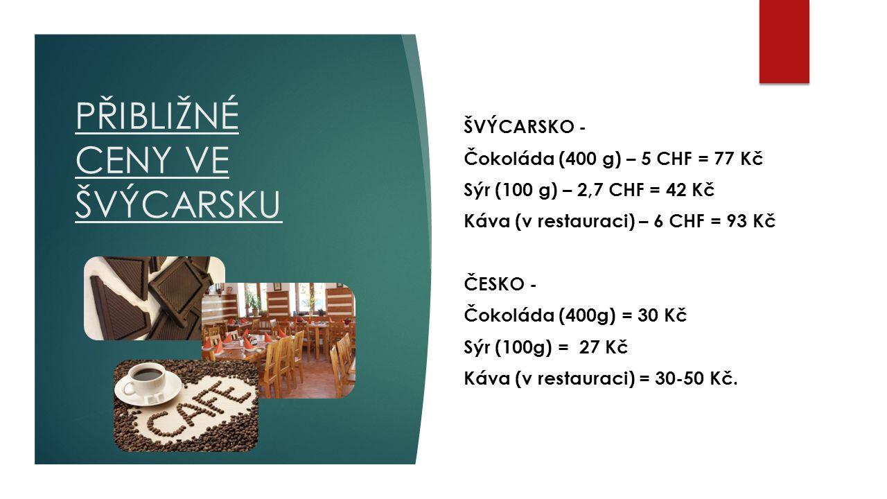 PŘIBLIŽNÉ CENY VE ŠVÝCARSKU ŠVÝCARSKO - Čokoláda (400 g) – 5 CHF = 77 Kč Sýr (100 g) – 2,7 CHF = 42 Kč Káva (v restauraci) – 6 CHF = 93 Kč ČESKO - Čokoláda (400g) = 30 Kč Sýr (100g) = 27 Kč Káva (v restauraci) = 30-50 Kč.