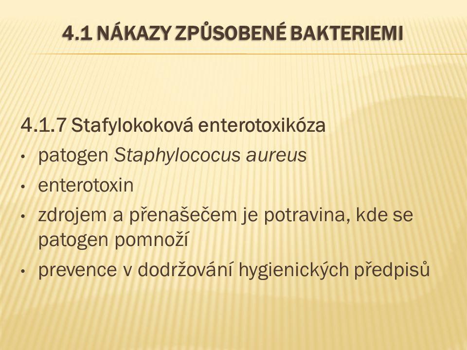 4.1 NÁKAZY ZPŮSOBENÉ BAKTERIEMI 4.1.7 Stafylokoková enterotoxikóza patogen Staphylococus aureus enterotoxin zdrojem a přenašečem je potravina, kde se patogen pomnoží prevence v dodržování hygienických předpisů