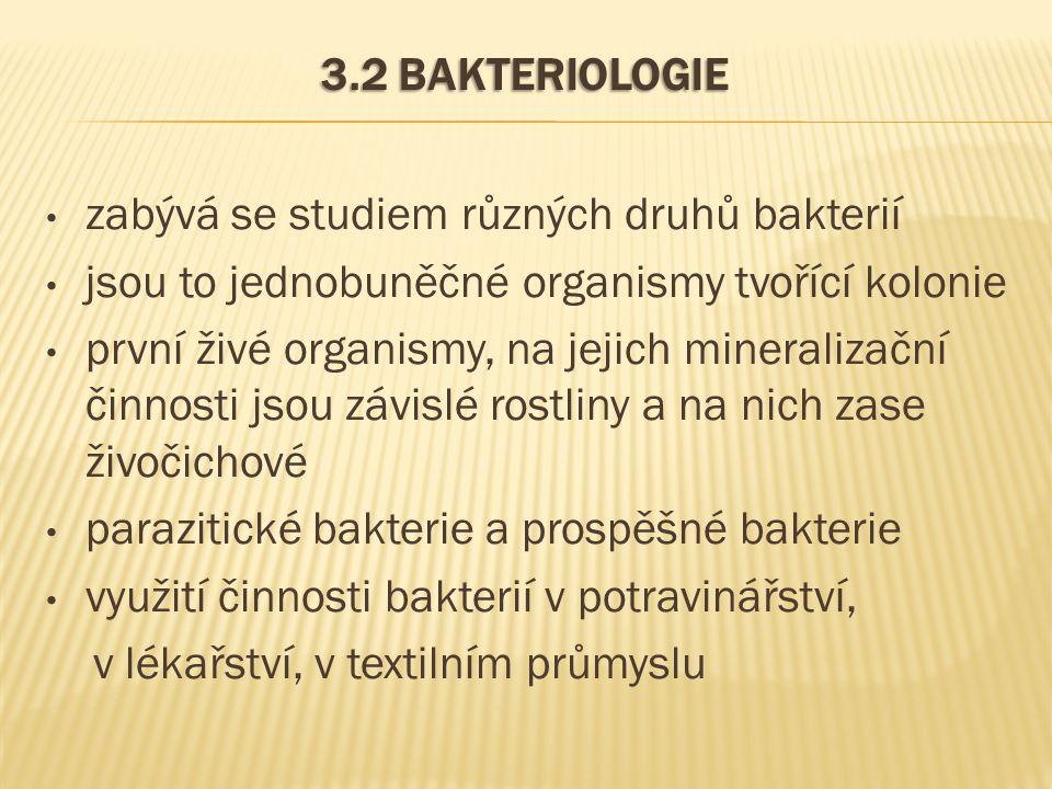 3.2 BAKTERIOLOGIE zabývá se studiem různých druhů bakterií jsou to jednobuněčné organismy tvořící kolonie první živé organismy, na jejich mineralizačn