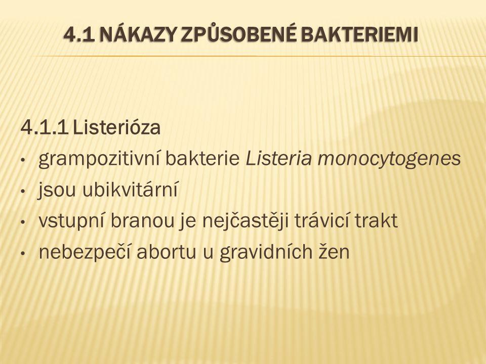 4.1 NÁKAZY ZPŮSOBENÉ BAKTERIEMI 4.1.1 Listerióza grampozitivní bakterie Listeria monocytogenes jsou ubikvitární vstupní branou je nejčastěji trávicí t