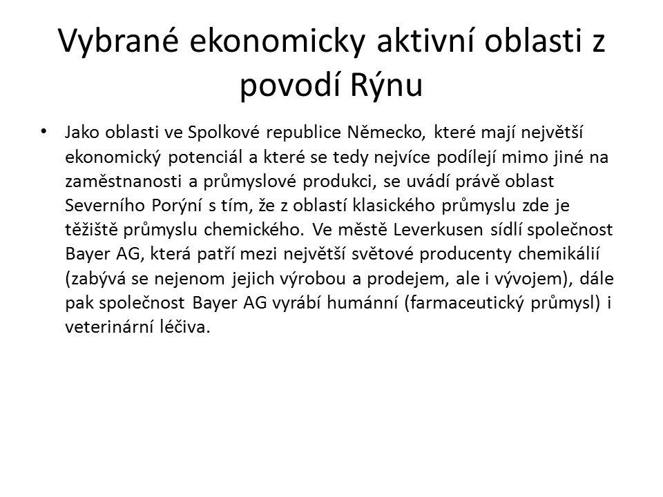 Vybrané ekonomicky aktivní oblasti z povodí Rýnu Oblast chemického průmyslu však není odvětvím typickým pouze pro oblast Severního Porýní – Vestfálska.