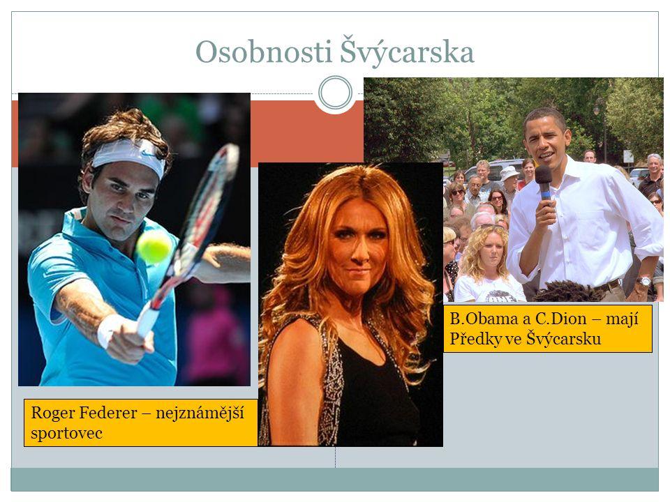Osobnosti Švýcarska Roger Federer – nejznámější sportovec B.Obama a C.Dion – mají Předky ve Švýcarsku