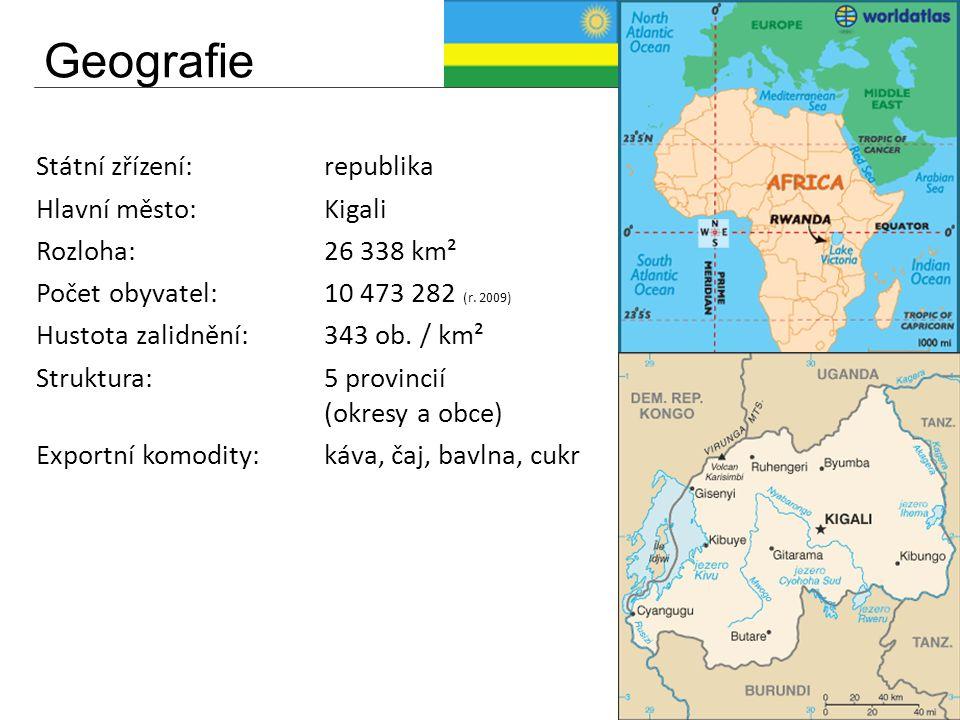 Geografie Státní zřízení:republika Hlavní město:Kigali Rozloha:26 338 km² Počet obyvatel:10 473 282 (r. 2009) Hustota zalidnění:343 ob. / km² Struktur