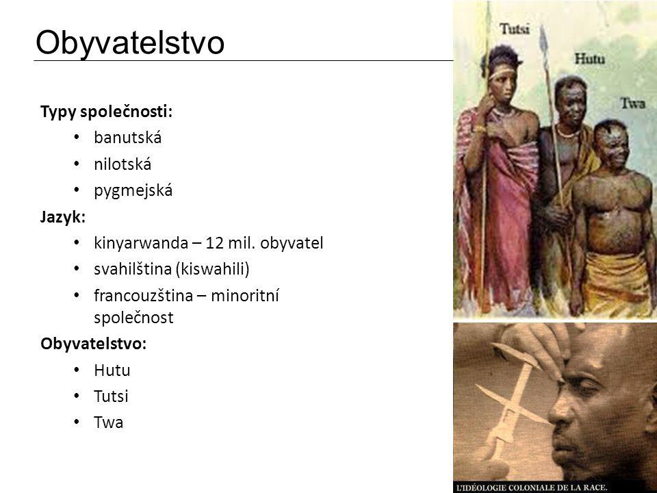 Obyvatelstvo Typy společnosti: banutská nilotská pygmejská Jazyk: kinyarwanda – 12 mil. obyvatel svahilština (kiswahili) francouzština – minoritní spo