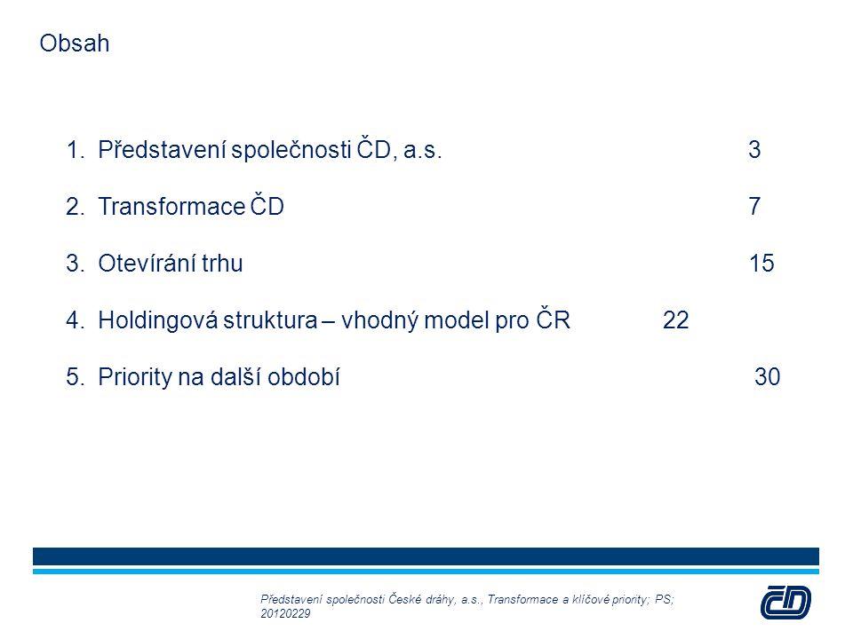 2 1.Představení společnosti ČD, a.s.3 2.Transformace ČD7 3.Otevírání trhu15 4.Holdingová struktura – vhodný model pro ČR22 5.Priority na další období 30 Představení společnosti České dráhy, a.s., Transformace a klíčové priority; PS; 20120229 Obsah