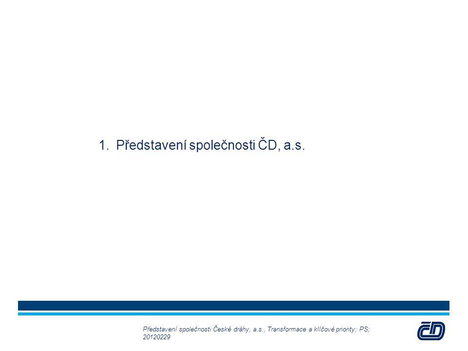 3 1.Představení společnosti ČD, a.s. Představení společnosti České dráhy, a.s., Transformace a klíčové priority; PS; 20120229