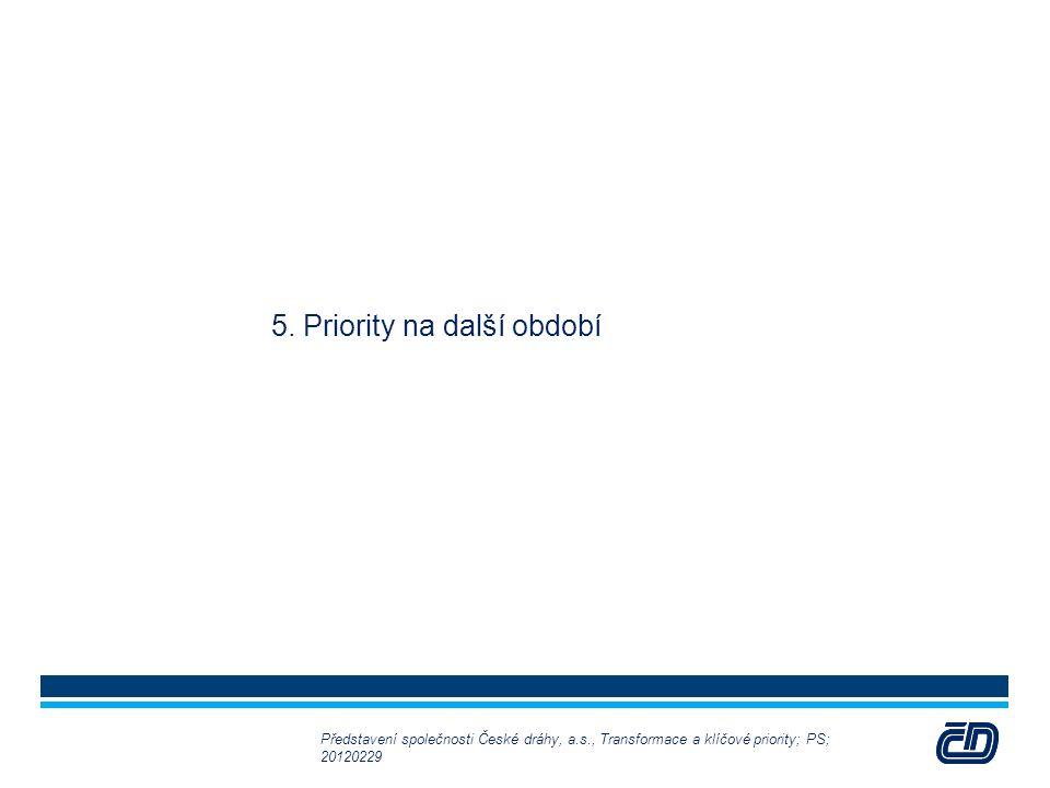 30 5. Priority na další období Představení společnosti České dráhy, a.s., Transformace a klíčové priority; PS; 20120229