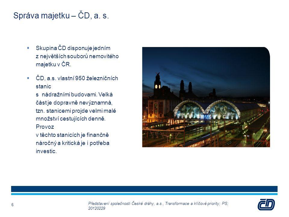 Správa majetku – ČD, a. s.  Skupina ČD disponuje jedním z největších souborů nemovitého majetku v ČR.  ČD, a.s. vlastní 950 železničních stanic s ná