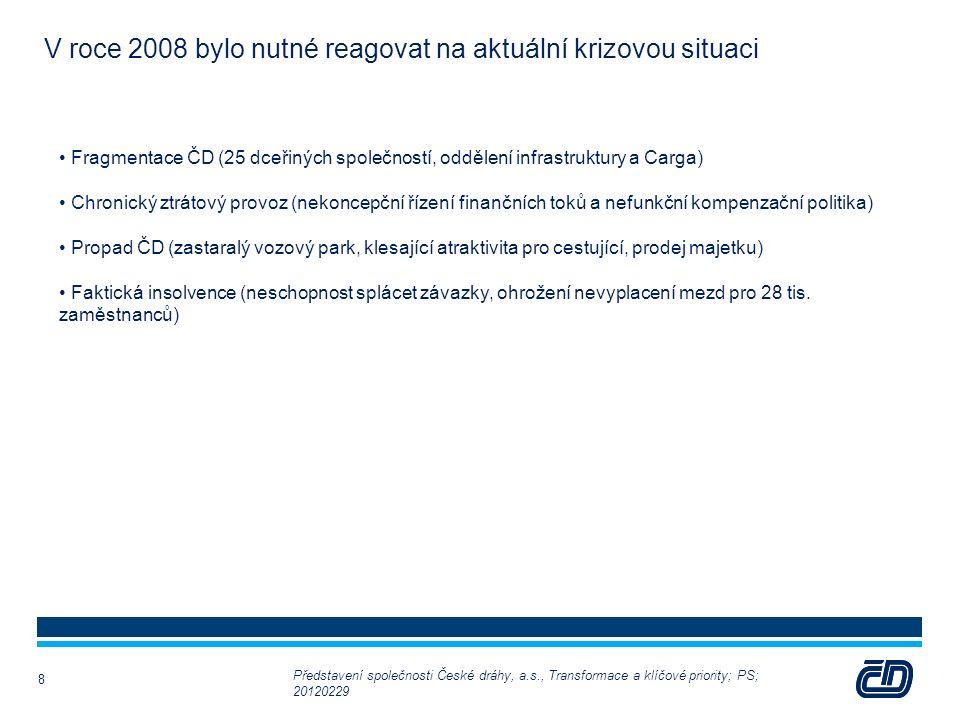 8 V roce 2008 bylo nutné reagovat na aktuální krizovou situaci Fragmentace ČD (25 dceřiných společností, oddělení infrastruktury a Carga) Chronický ztrátový provoz (nekoncepční řízení finančních toků a nefunkční kompenzační politika) Propad ČD (zastaralý vozový park, klesající atraktivita pro cestující, prodej majetku) Faktická insolvence (neschopnost splácet závazky, ohrožení nevyplacení mezd pro 28 tis.