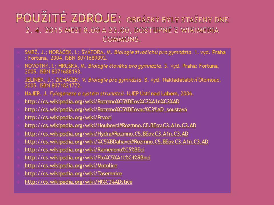  SMRŽ, J.; HORÁČEK, I.; ŠVÁTORA, M. Biologie živočichů pro gymnázia.