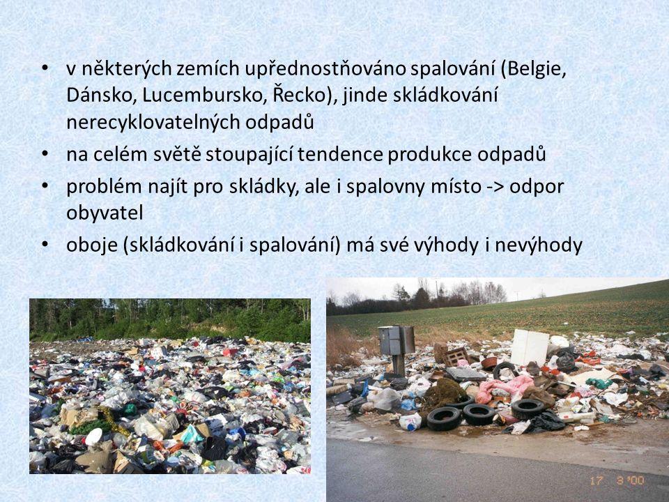 v některých zemích upřednostňováno spalování (Belgie, Dánsko, Lucembursko, Řecko), jinde skládkování nerecyklovatelných odpadů na celém světě stoupající tendence produkce odpadů problém najít pro skládky, ale i spalovny místo -> odpor obyvatel oboje (skládkování i spalování) má své výhody i nevýhody