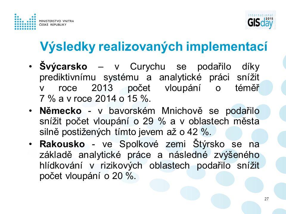 Výsledky realizovaných implementací Švýcarsko – v Curychu se podařilo díky prediktivnímu systému a analytické práci snížit v roce 2013 počet vloupání o téměř 7 % a v roce 2014 o 15 %.