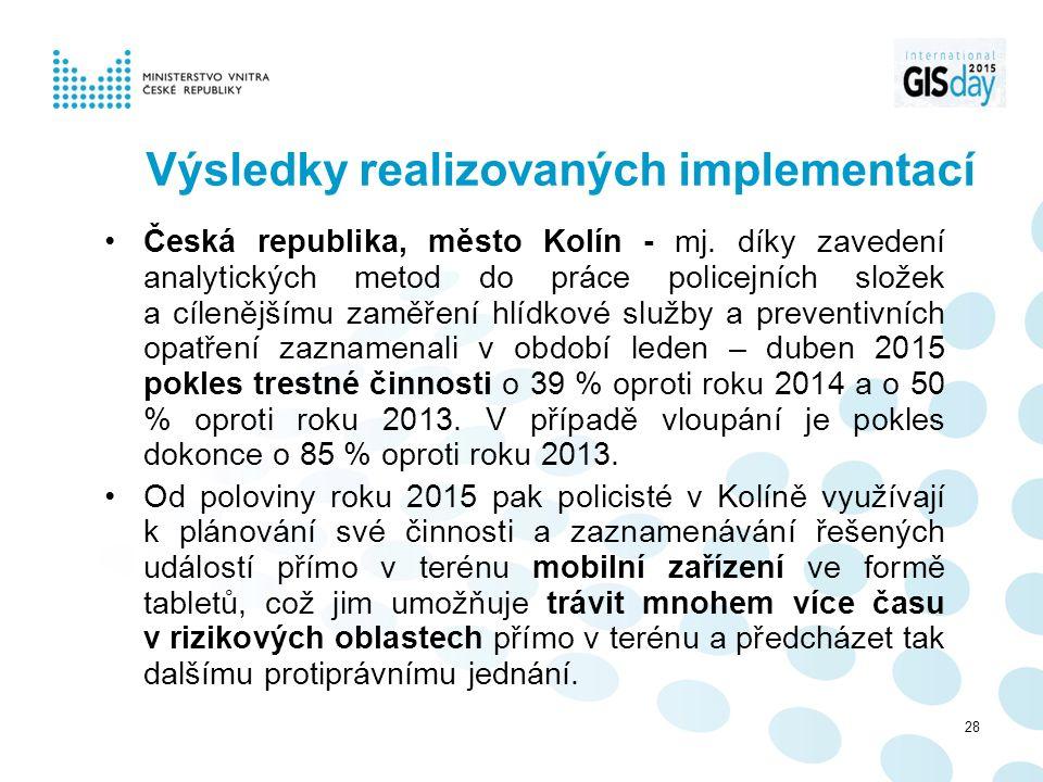 Výsledky realizovaných implementací Česká republika, město Kolín - mj.