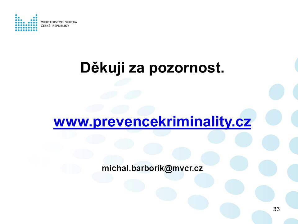 33 Děkuji za pozornost. www.prevencekriminality.cz michal.barborik@mvcr.cz