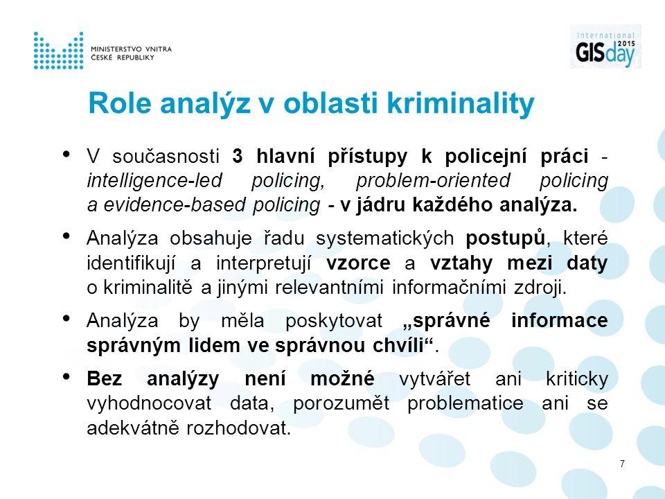 Role analýz v oblasti kriminality V současnosti 3 hlavní přístupy k policejní práci - intelligence-led policing, problem-oriented policing a evidence-based policing - v jádru každého analýza.