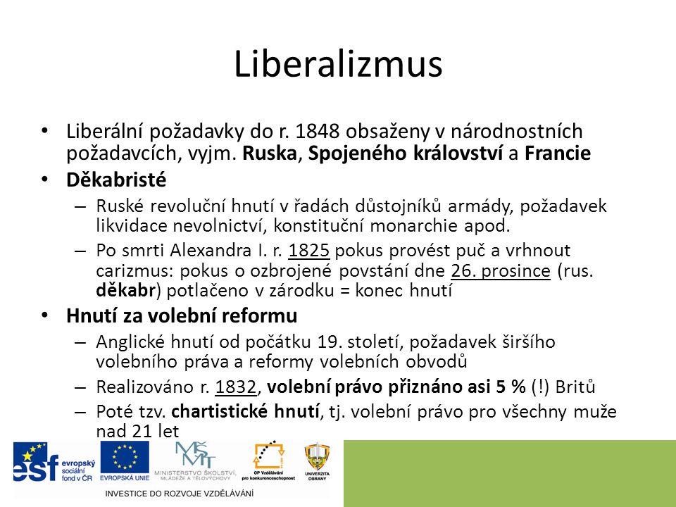 Liberalizmus Liberální požadavky do r. 1848 obsaženy v národnostních požadavcích, vyjm.